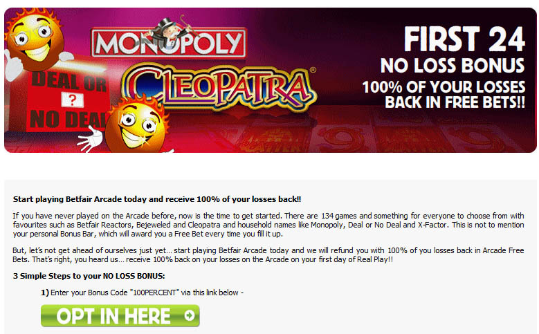 Betfair Arcade Free Bets