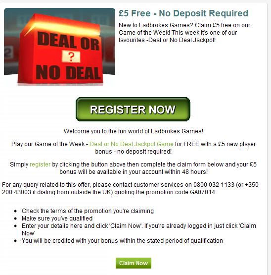Deal or No Deal Free Bonus Offer