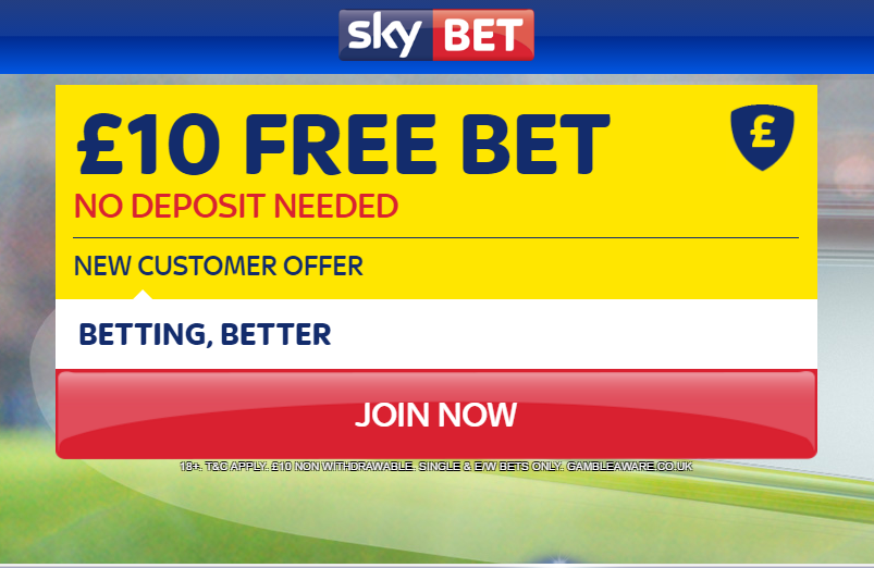 £10 Risk-free Bet at Skybet – Brand New!