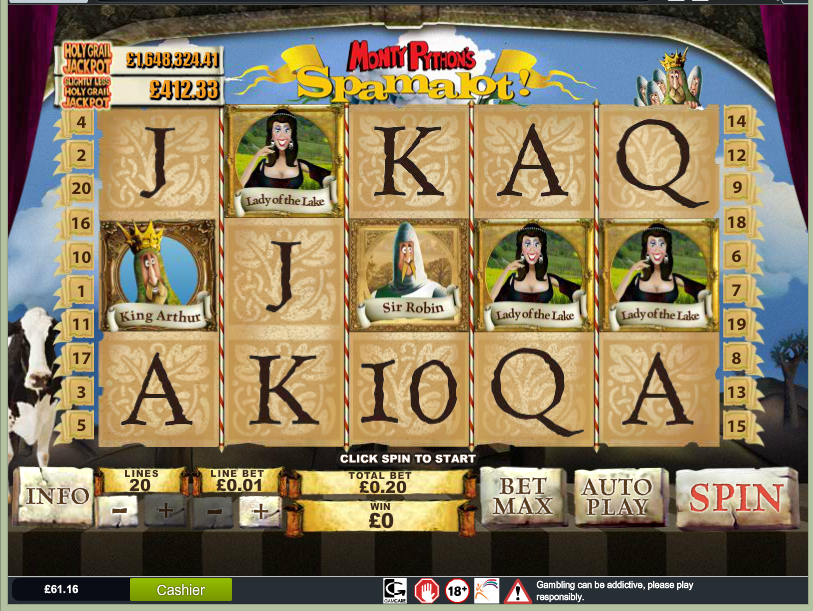 Betfair £5 No Deposit Slot Game - Spamalot