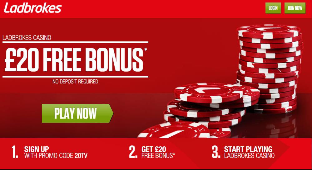 Ladbrokes £20 Free Casino Bonus