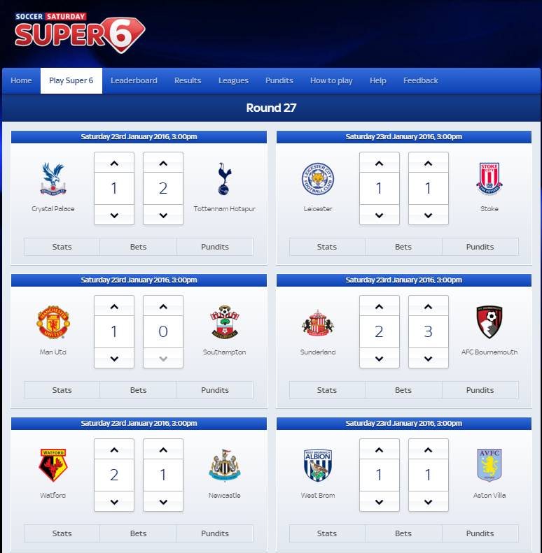 SkyBet Prediction Game